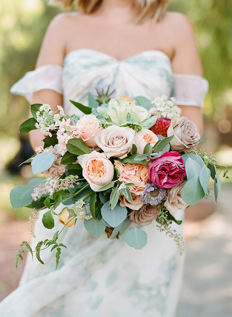 spring bridesmaid bouquets - photo by Erica Schneider Photography https://ruffledblog.com/vegetable-garden-inspired-wedding-with-seriously-lush-details