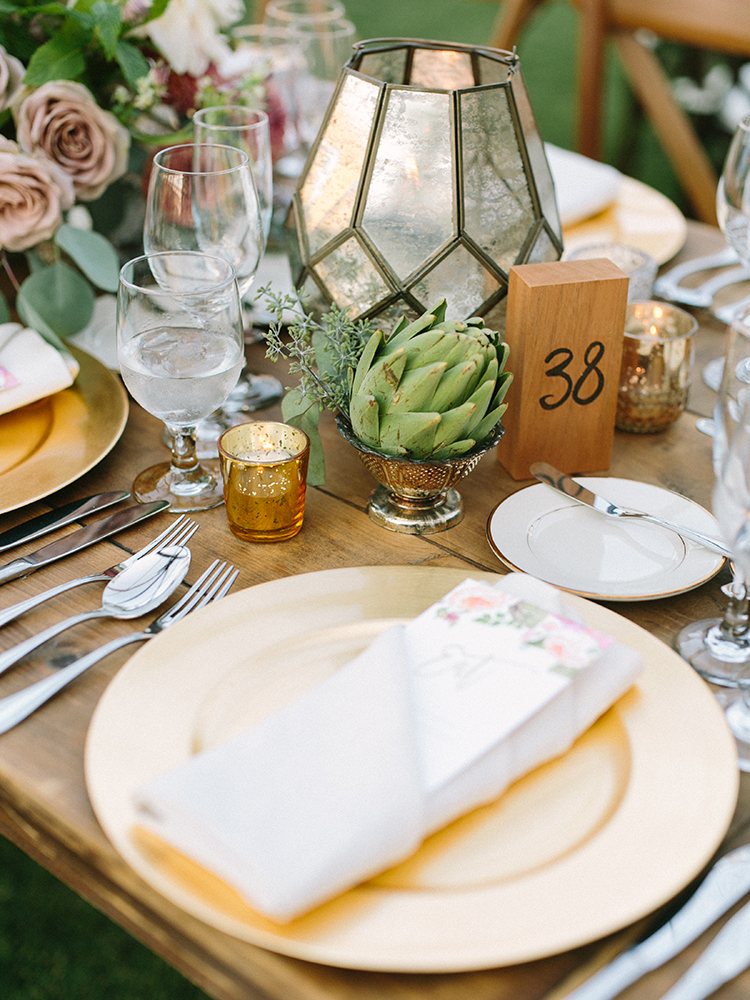 artichokes in weddings - photo by Erica Schneider Photography http://ruffledblog.com/vegetable-garden-inspired-wedding-with-seriously-lush-details