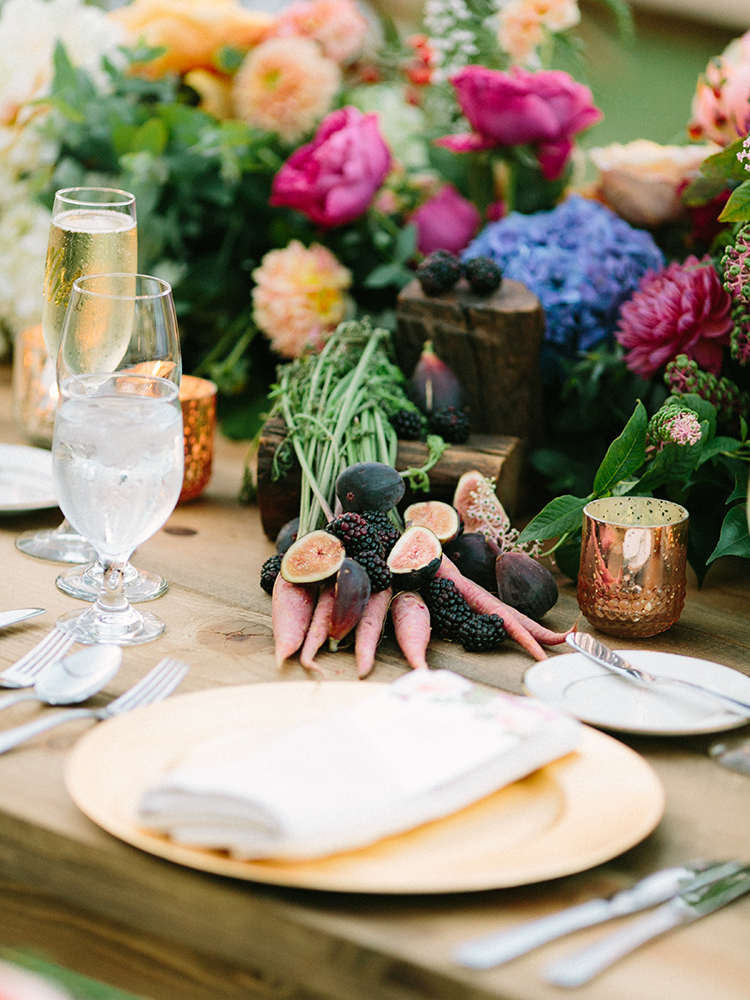 vegetable and fruit wedding centerpieces - photo by Erica Schneider Photography http://ruffledblog.com/vegetable-garden-inspired-wedding-with-seriously-lush-details