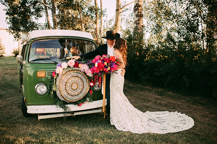Vibrant Boho Wedding Inspiration with a Bright Green Bus - http://ruffledblog.com/vibrant-boho-wedding-inspiration-with-a-bright-green-bus