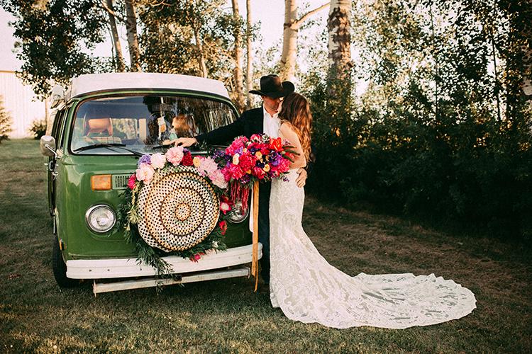 Vibrant Boho Wedding Inspiration with a Bright Green Bus - https://ruffledblog.com/vibrant-boho-wedding-inspiration-with-a-bright-green-bus