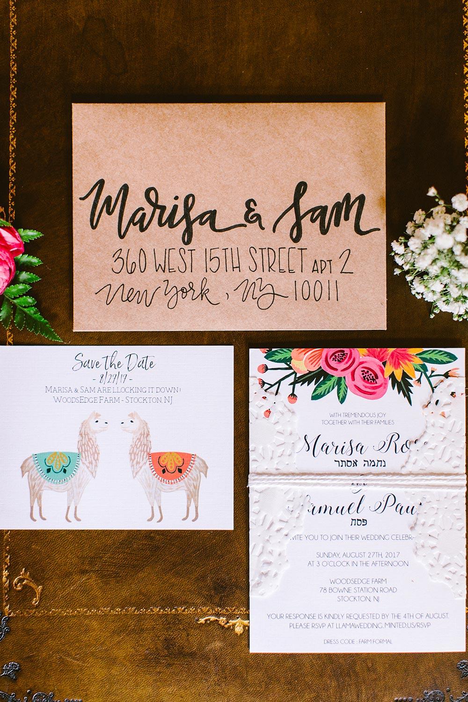 llama inspired wedding invitations