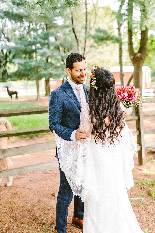 boho wedding dress with bell sleeves