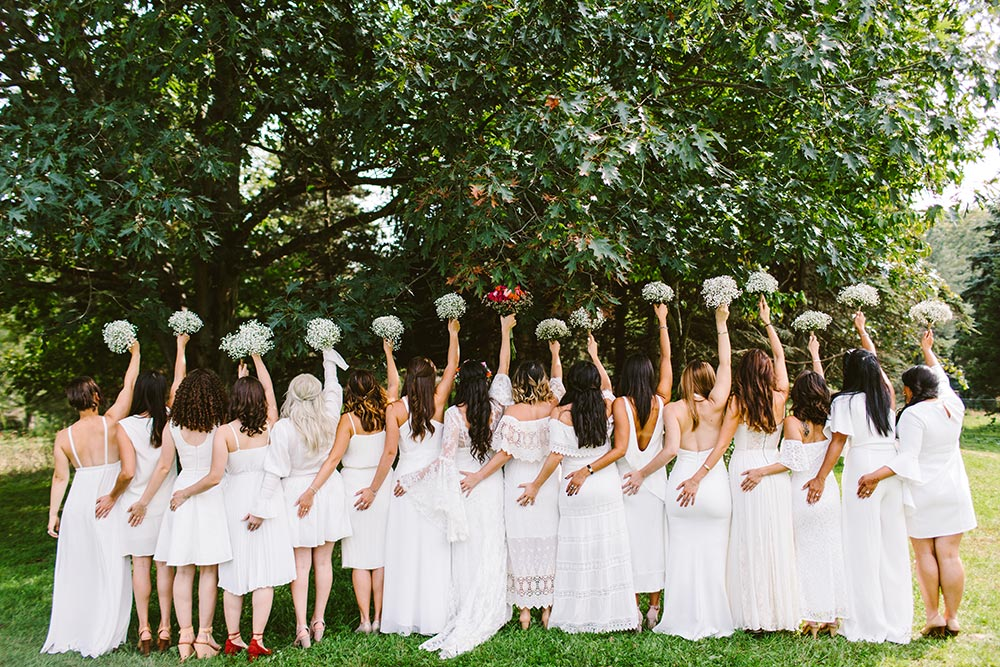 all white mix and match bridesmaid dresses