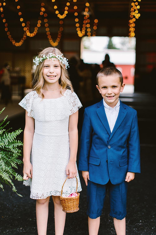 boho flower girl dress and blue ring bearer suit