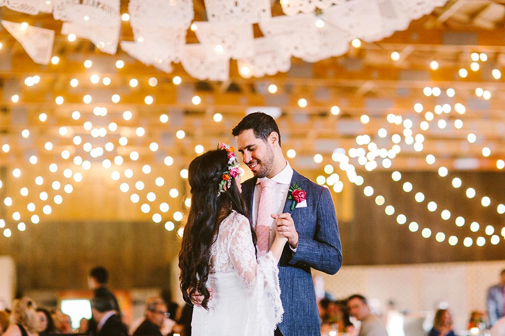 boho wedding with laser cut bunting first dance