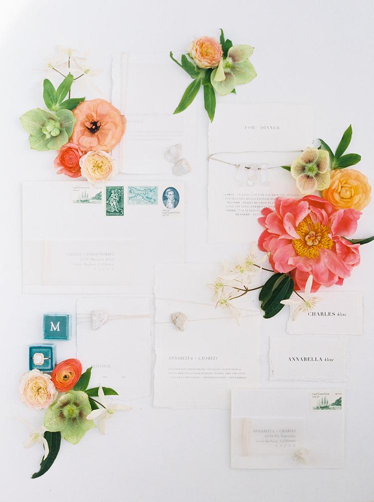 simple wedding stationery - photo by Ali Mae Photo http://ruffledblog.com/vibrant-summer-wedding-inspiration-with-bridal-fashion