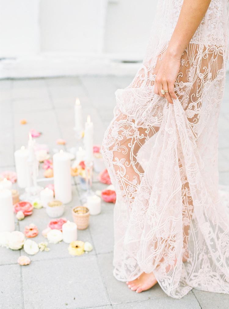 romantic wedding lace - photo by Ali Mae Photo http://ruffledblog.com/vibrant-summer-wedding-inspiration-with-bridal-fashion