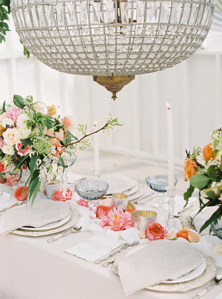 weddings with chandeliers - photo by Ali Mae Photo http://ruffledblog.com/vibrant-summer-wedding-inspiration-with-bridal-fashion