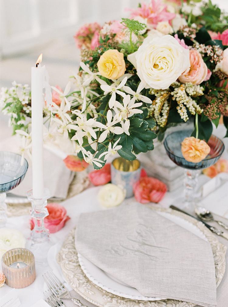 garden wedding tables - photo by Ali Mae Photo http://ruffledblog.com/vibrant-summer-wedding-inspiration-with-bridal-fashion