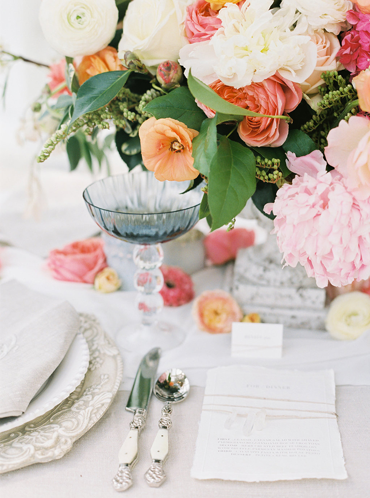 spring wedding color palettes - photo by Ali Mae Photo http://ruffledblog.com/vibrant-summer-wedding-inspiration-with-bridal-fashion