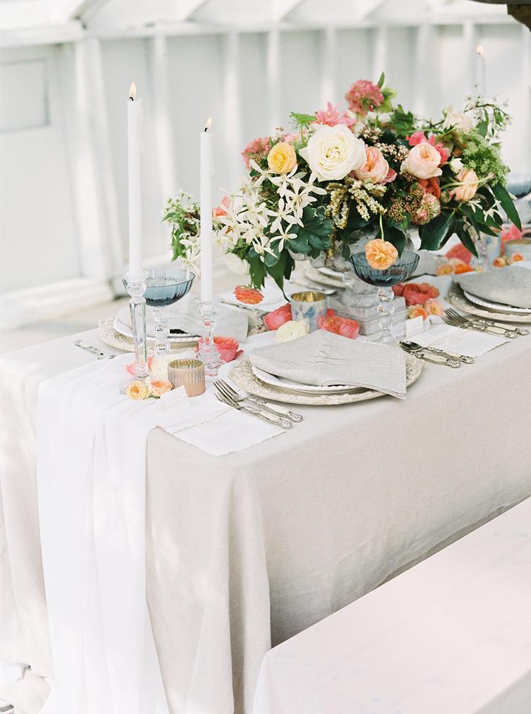 wedding reception tables - photo by Ali Mae Photo http://ruffledblog.com/vibrant-summer-wedding-inspiration-with-bridal-fashion