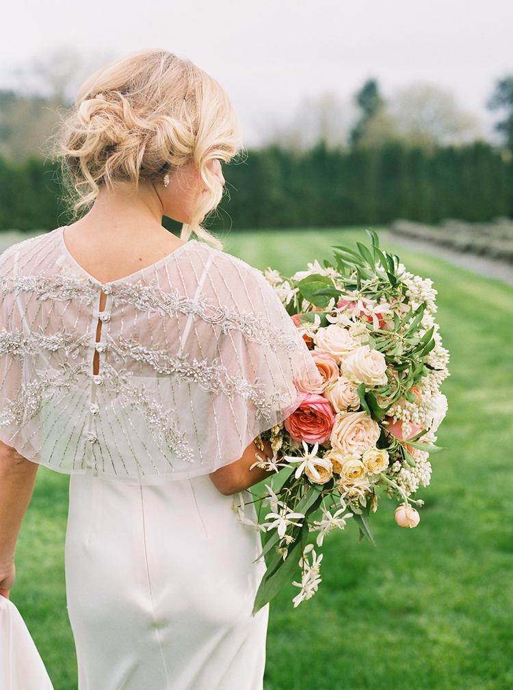 embellished bridal capes - photo by Ali Mae Photo https://ruffledblog.com/vibrant-summer-wedding-inspiration-with-bridal-fashion
