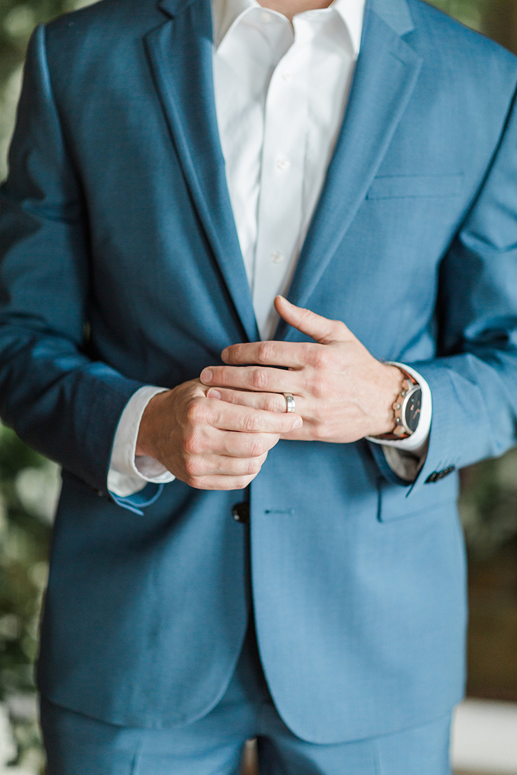 blue groom suits - photo by Chloe Luka Photography http://ruffledblog.com/vintage-bohemia-wedding-ideas-with-statement-floral-arrangements