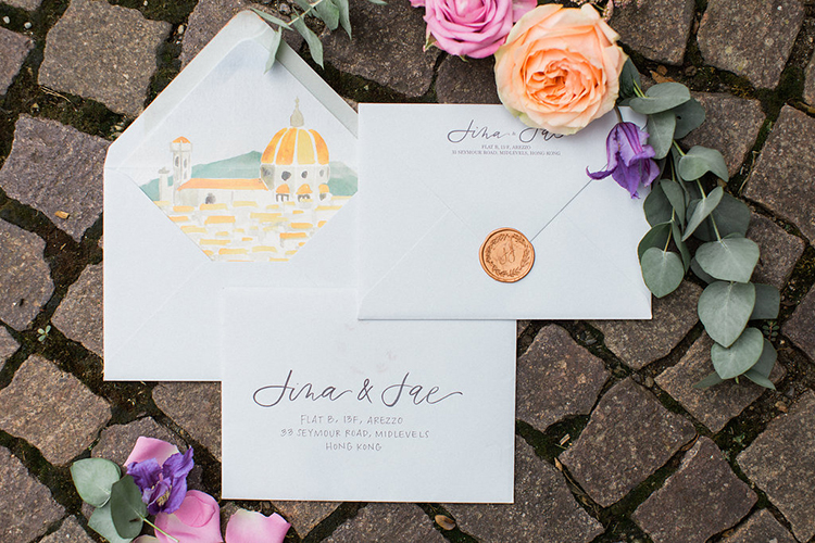 wedding stationery - photo by Booth Photographics https://ruffledblog.com/watercolor-destination-wedding-in-florence