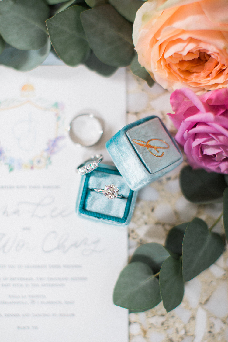 wedding rings - photo by Booth Photographics https://ruffledblog.com/watercolor-destination-wedding-in-florence
