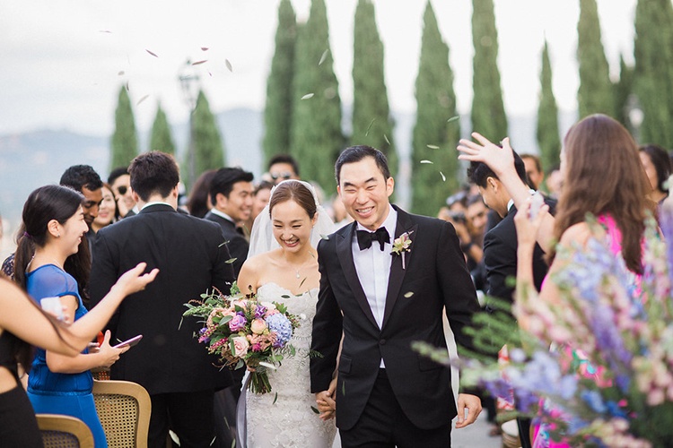 ceremony recessionals - photo by Booth Photographics http://ruffledblog.com/watercolor-destination-wedding-in-florence