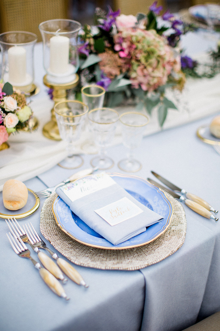 blue place settings - photo by Booth Photographics https://ruffledblog.com/watercolor-destination-wedding-in-florence