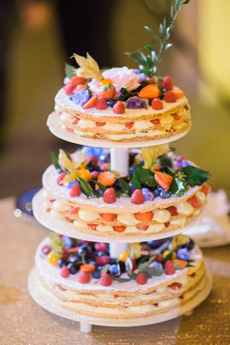fruit wedding cakes - photo by Booth Photographics http://ruffledblog.com/watercolor-destination-wedding-in-florence