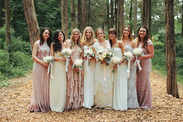 neutral bridesmaid dresses - photo by Nick Radford https://ruffledblog.com/watercolor-garden-wedding-in-new-york