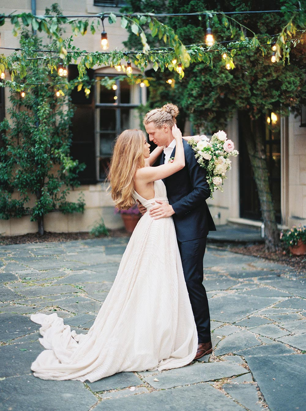strappy Carol Hannah wedding dress with long train first dance