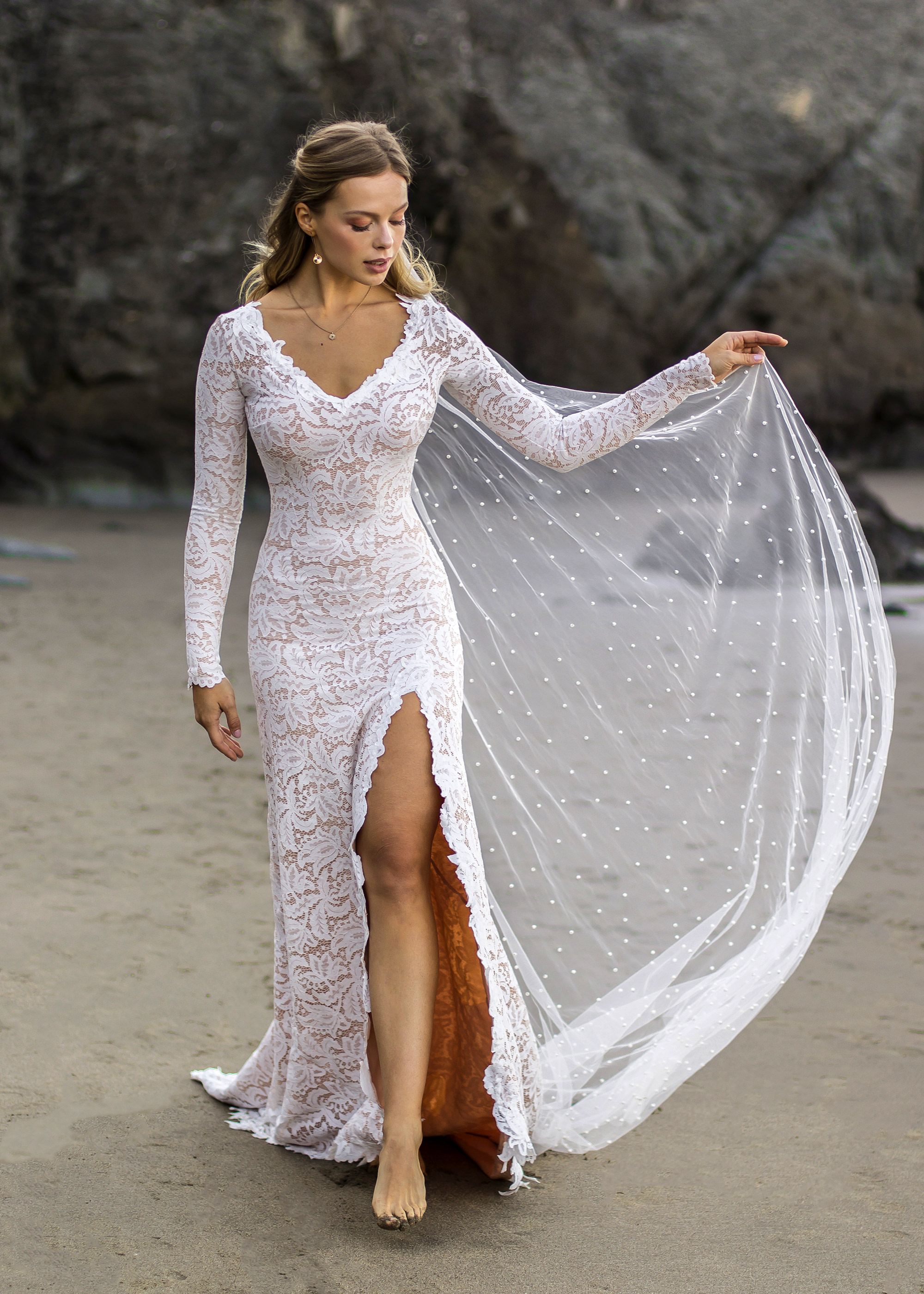 stretch lace wedding dress with high slit and open back