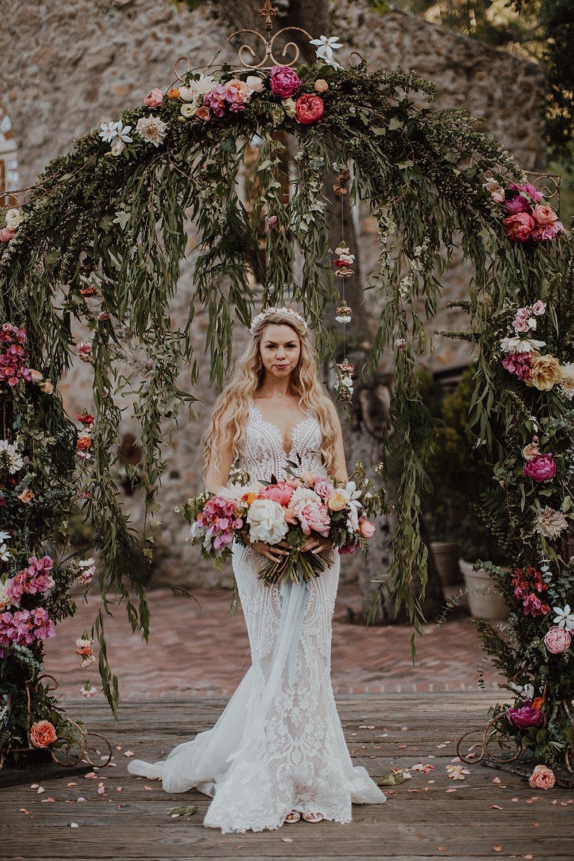 whimsical garden wedding pink ceremony backdrop