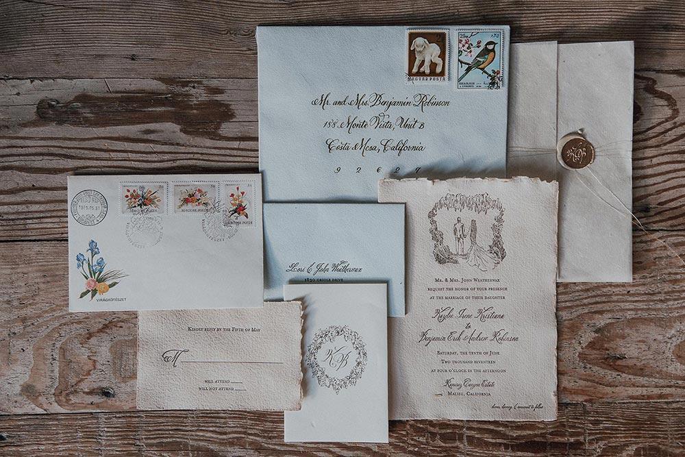 illustrated wedding invitation suite