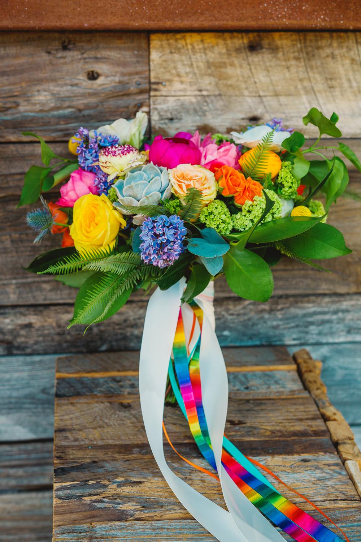 bright wedding bouquets - photo by Priscila Valentina https://ruffledblog.com/whimsical-vibrant-laguna-beach-wedding