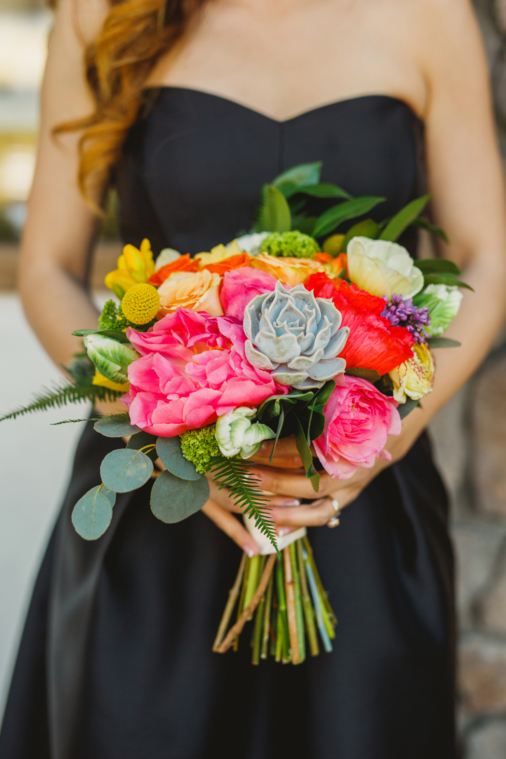 bright bridesmaid bouquets - photo by Priscila Valentina http://ruffledblog.com/whimsical-vibrant-laguna-beach-wedding