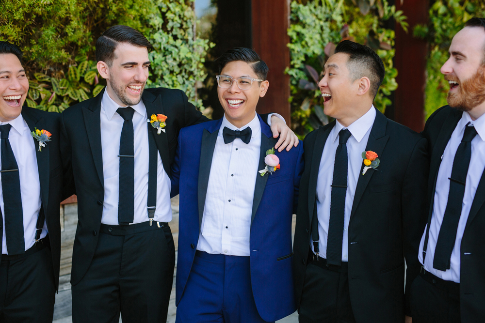 groom and groomsmen - photo by Priscila Valentina http://ruffledblog.com/whimsical-vibrant-laguna-beach-wedding