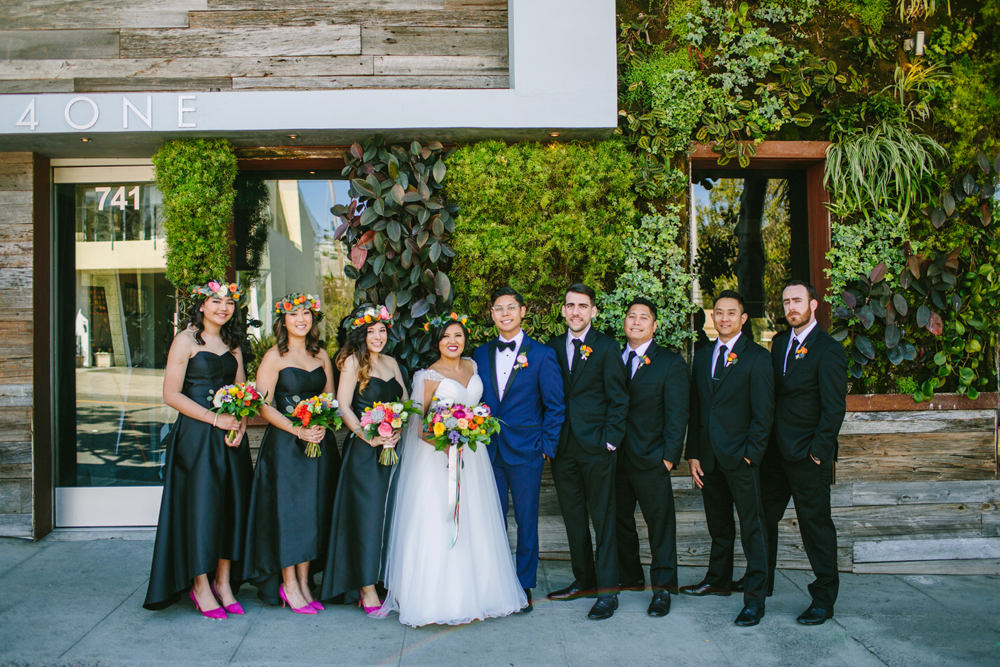 wedding party - photo by Priscila Valentina http://ruffledblog.com/whimsical-vibrant-laguna-beach-wedding
