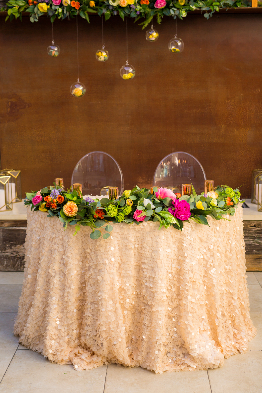 sweetheart tables - photo by Priscila Valentina http://ruffledblog.com/whimsical-vibrant-laguna-beach-wedding