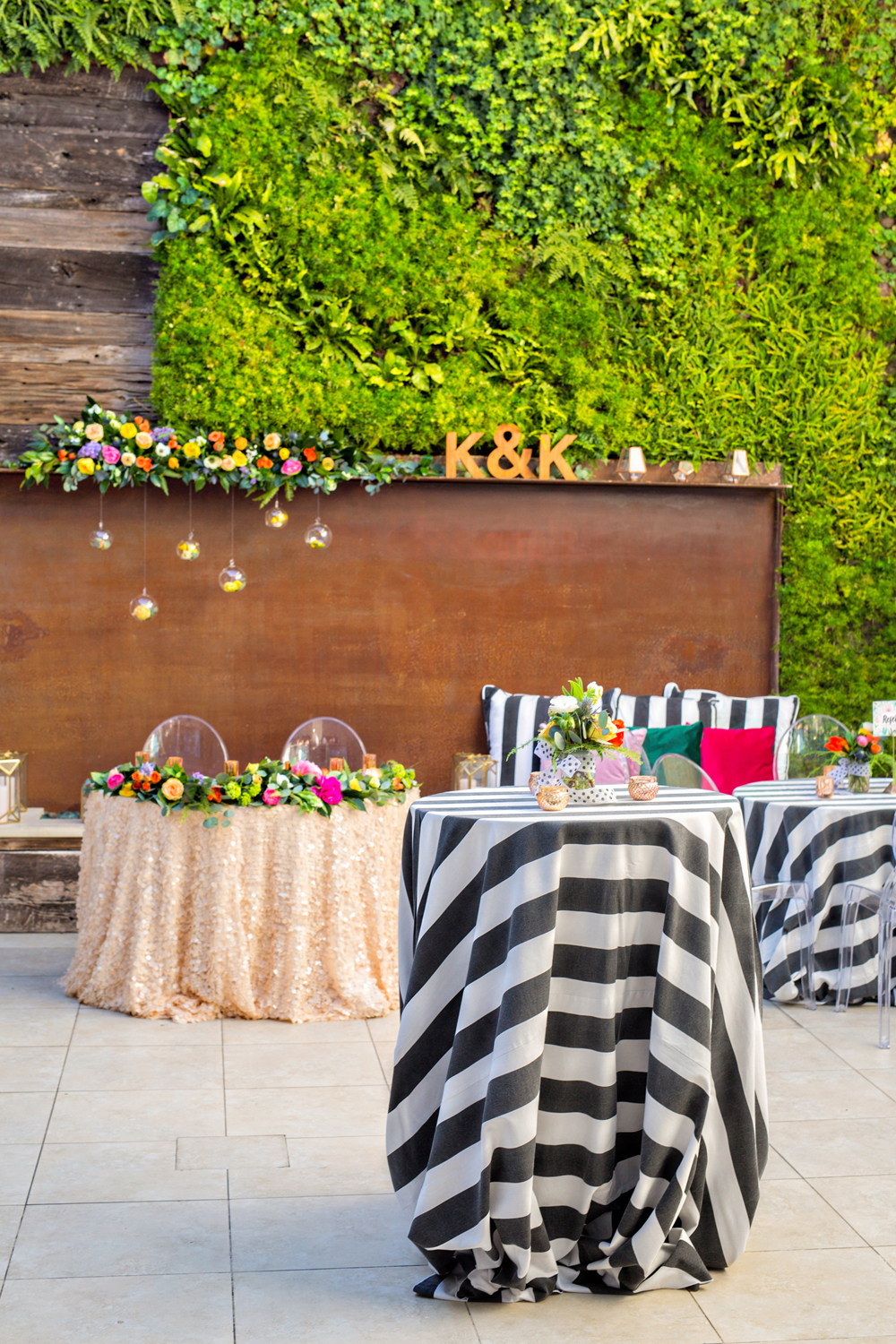 wedding reception ideas - photo by Priscila Valentina http://ruffledblog.com/whimsical-vibrant-laguna-beach-wedding