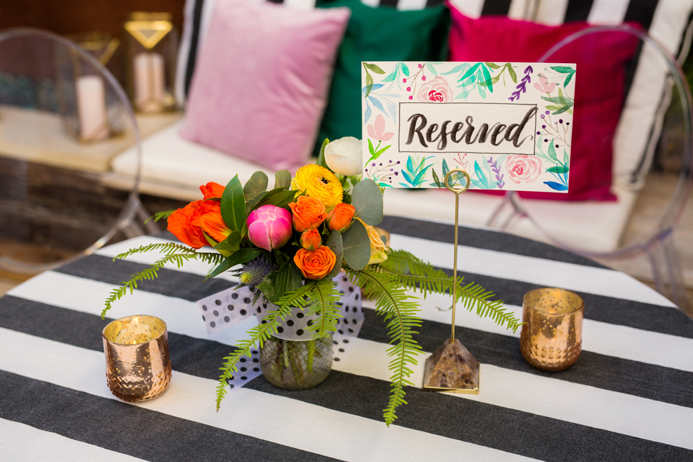 wedding tables - photo by Priscila Valentina http://ruffledblog.com/whimsical-vibrant-laguna-beach-wedding