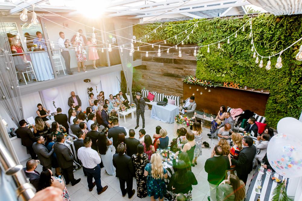 fun wedding receptions - photo by Priscila Valentina https://ruffledblog.com/whimsical-vibrant-laguna-beach-wedding