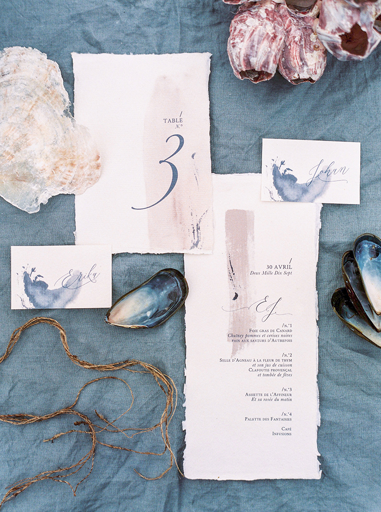 elegant wedding stationery - photo by Wild Beach Elopement Inspiration at Cinque Terre http://ruffledblog.com/wild-beach-elopement-inspiration-in-cinque-terre