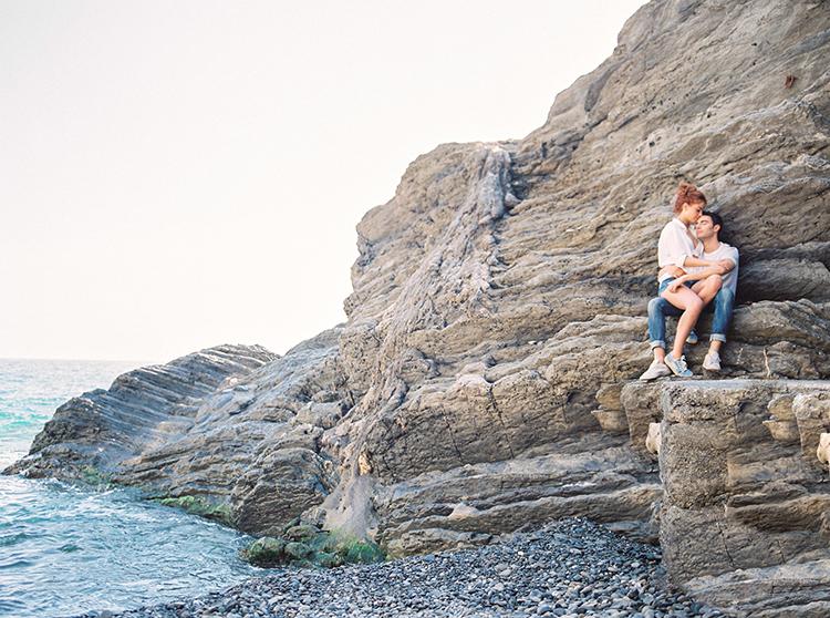 beach honeymoons - photo by Wild Beach Elopement Inspiration at Cinque Terre https://ruffledblog.com/wild-beach-elopement-inspiration-in-cinque-terre