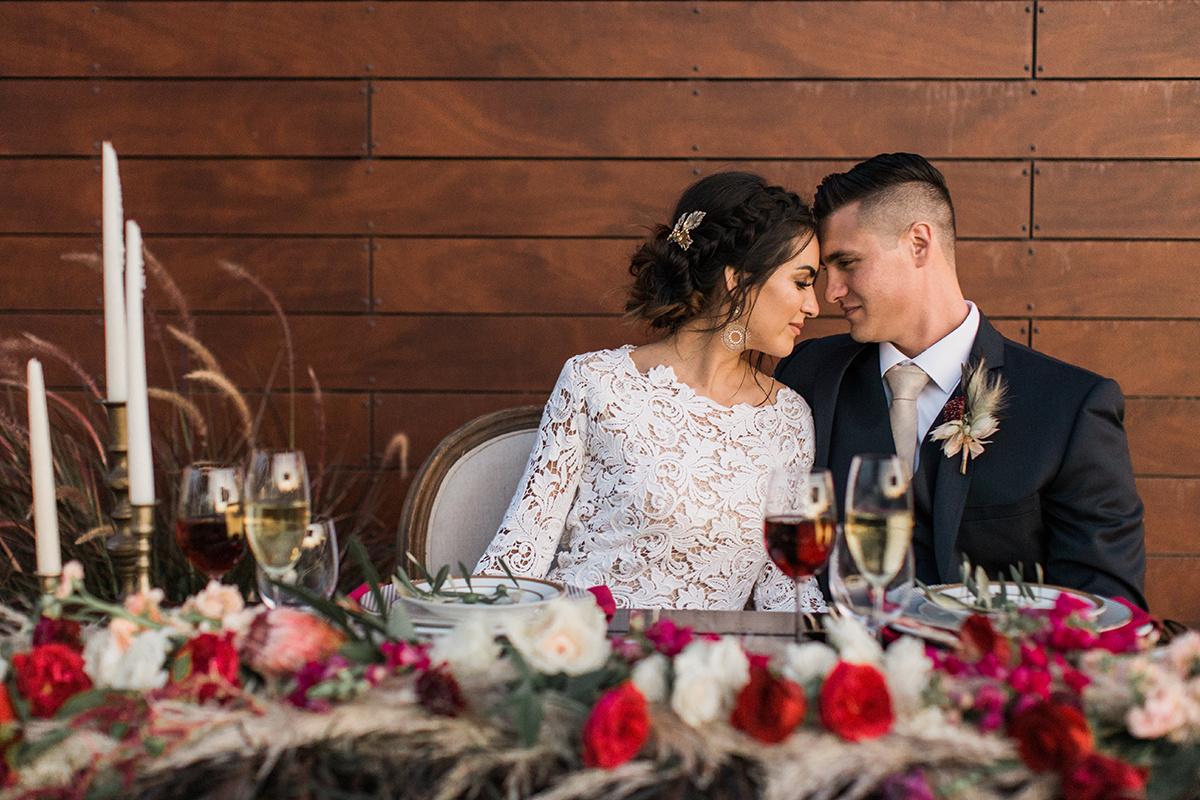 romantic winery wedding inspiration - https://ruffledblog.com/wine-country-wedding-inspiration-with-a-pampas-grass-arch
