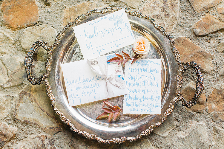 wedding paper goods - https://ruffledblog.com/winery-vow-renewal-inspiration-with-autumn-leaves