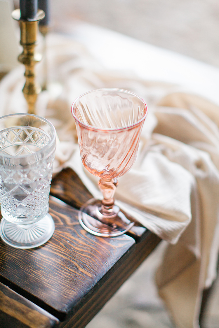 pink depression glass details - https://ruffledblog.com/winery-vow-renewal-inspiration-with-autumn-leaves