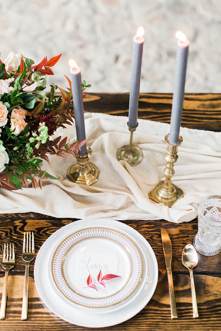 romantic table setting inspiration - https://ruffledblog.com/winery-vow-renewal-inspiration-with-autumn-leaves