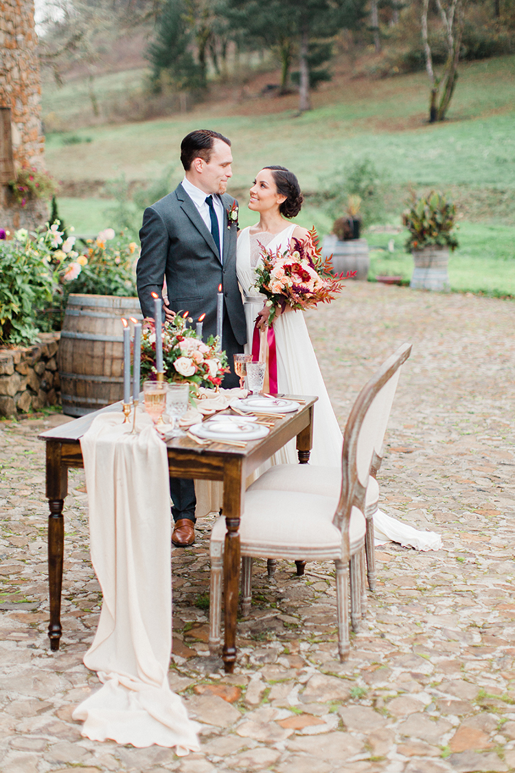 romantic winery wedding inspiration - https://ruffledblog.com/winery-vow-renewal-inspiration-with-autumn-leaves