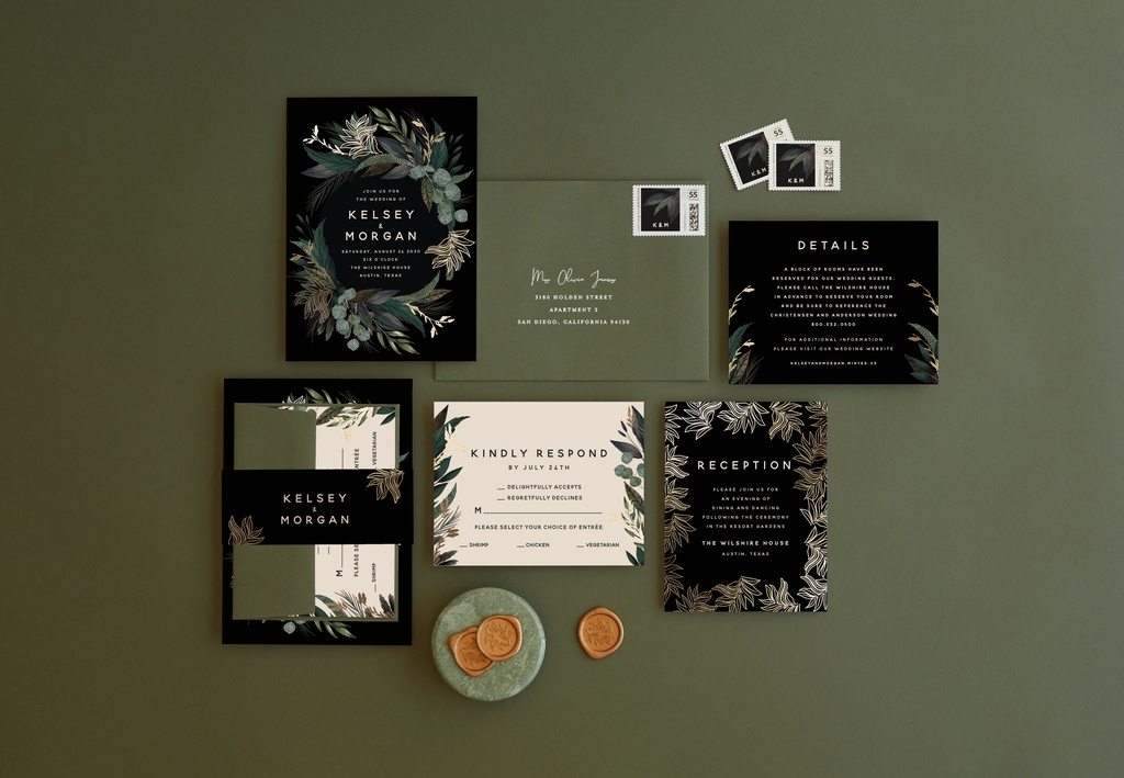 modern greenery wedding invitations from Minted