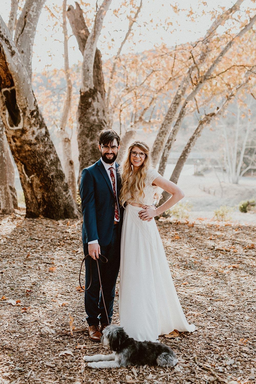 boho wedding dress bride and groom portraits