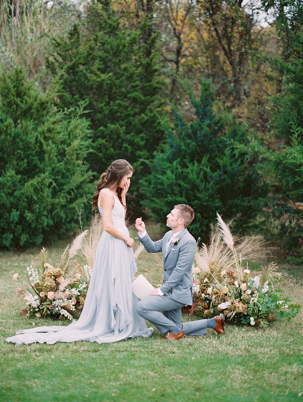 organic ceremony backdrop surprise proposal
