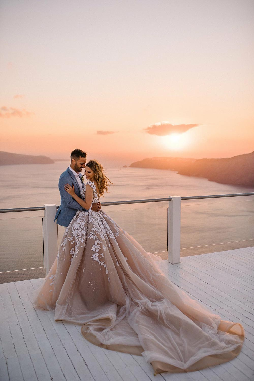 Steven Khalil modern blush wedding dress ballgown